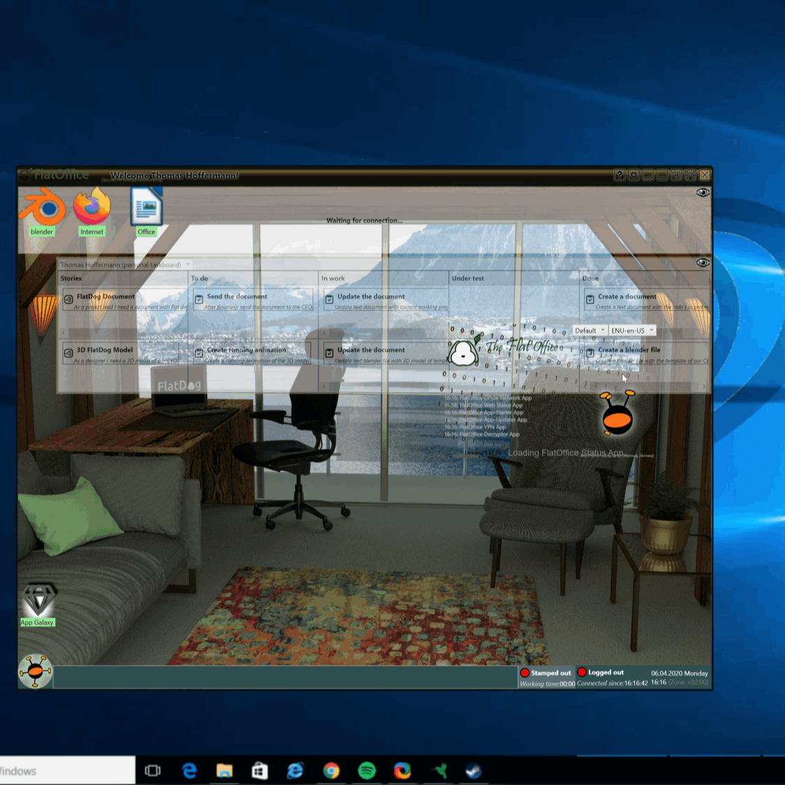 Picture of the FlatOffice software in Windows 10